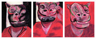The Hippo Triptych Poster by Bizarre Bunny