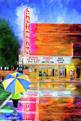 Poster featuring the painting The Historic Savannah Theatre by Mark Tisdale