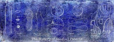 The History Of Baseball Patents Blue Poster by Jon Neidert