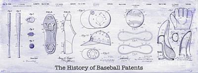 The History Of Baseball Patents Blueprint Poster by Jon Neidert