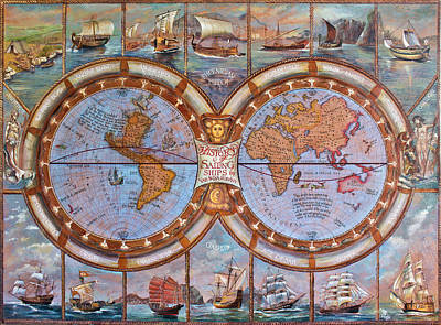 The History Of Sailing Ships Poster by Vali Irina Ciobanu