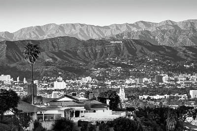 The Hollywood Hills Urban Landscape - Los Angeles California Bw Poster