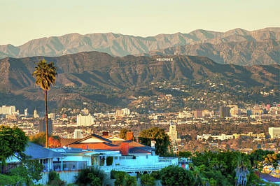 Poster featuring the photograph The Hollywood Hills Urban Landscape - Los Angeles California by Gregory Ballos