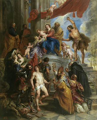 The Holy Family Surrounded By Saints Poster by Peter Paul Rubens