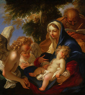 Poster featuring the painting The Holy Family With Angels by Seastiano Ricci