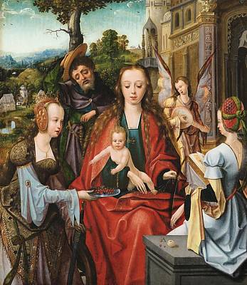 The Holy Family With Two Saints Poster