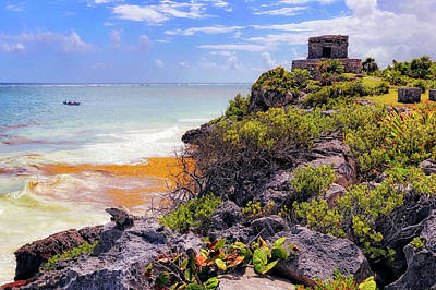 Poster featuring the photograph The Iguana And The Temple Of The God Of The Wind - Tulum Mayan Ruins - Mexico by Jason Politte
