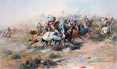 The Indian Encirclement Of General Custer At The Battle Of The Little Big Horn Poster by Charles Marion Russell