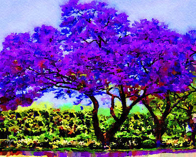Poster featuring the painting The Jacaranda by Angela Treat Lyon