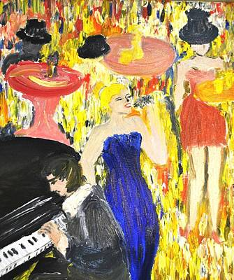 Poster featuring the painting The Jazz Singer by Evelina Popilian