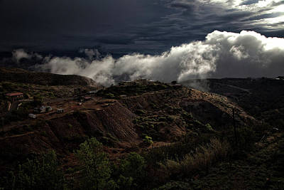 Poster featuring the photograph The Jerome State Park With Low Lying Clouds After Storm by Ron Chilston