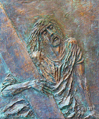 The Jesus Falls The Second Time Bronze Relief By Fernando Mario Paonessa Poster by Jozef Sedmak