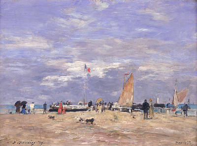 The Jetty At Deauville Poster by Eugene Louis Boudin