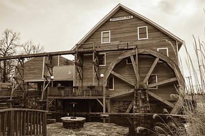 The Johnson Mill - Near Fayetteville Arkansas - Sepia Poster by Gregory Ballos