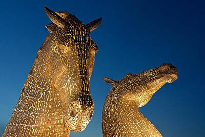 The Kelpies At Dusk Poster by Stephen Taylor