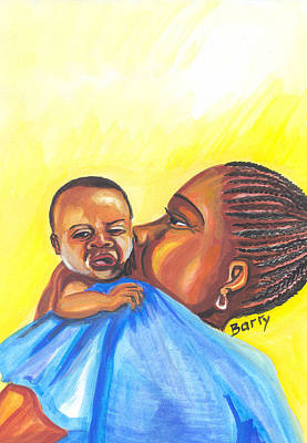 The Kiss Of A Mother In Senegal Poster by Emmanuel Baliyanga