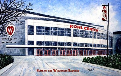 Poster featuring the painting The Kohl Center by Thomas Kuchenbecker