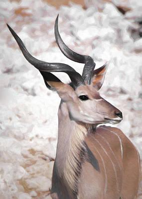 Poster featuring the digital art The Kudu Portrait by Ernie Echols