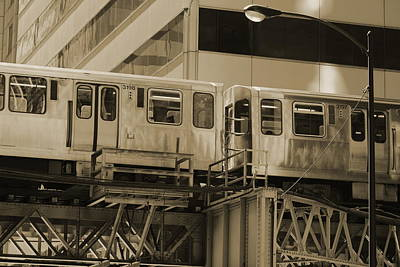 The L Downtown Chicago In Sepia Poster