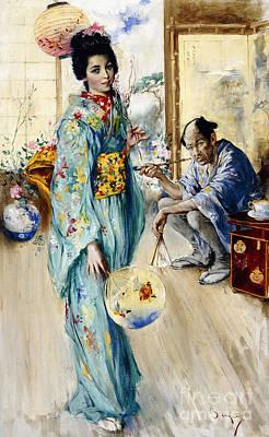 The Lady And Sada San Poster by William Merritt Berger