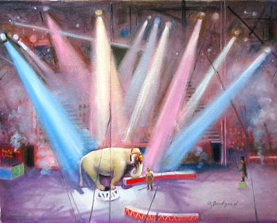 Poster featuring the painting The Last Circus Elephant by Oz Freedgood