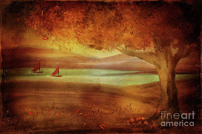 Poster featuring the digital art The Last Sail Of The Season  by Lois Bryan