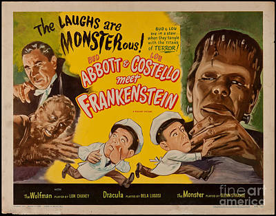 The Laughs Are Monsterous Abott An Costello Meet Frankenstein Classic Movie Poster Poster by R Muirhead Art