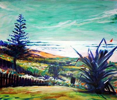 Poster featuring the painting The Lawn Pandanus by Winsome Gunning