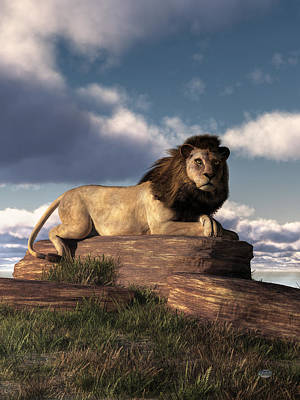 Poster featuring the digital art The Lazy Lion by Daniel Eskridge