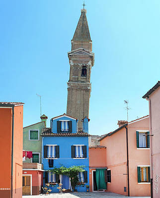 The Leaning Campanile Of Burano Poster by Robert Lacy