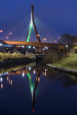 The Leonard P Zakim Bridge Lit Up In Green For St Patrick's Day Poster