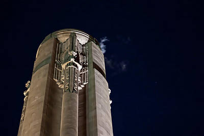 The Liberty Memorial At Night Poster