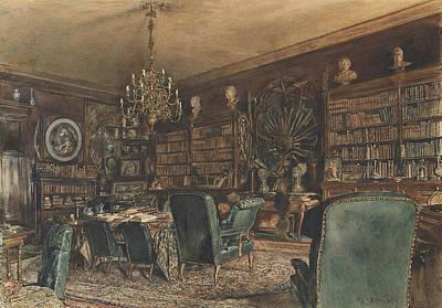 The Library In The Apartment Of Count Lanckoronski In Vienna, Riemergasse 8 Poster by Rudolf von Alt
