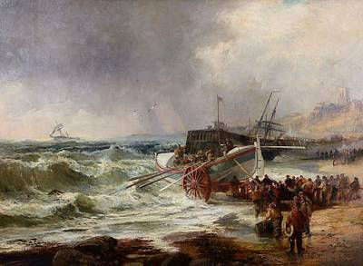 The Lifeboat Heading Out In Rough Seas Poster by Robert Ernest