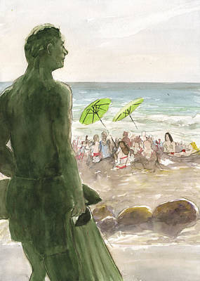 Poster featuring the painting The Lifeguard by Brian Meyer
