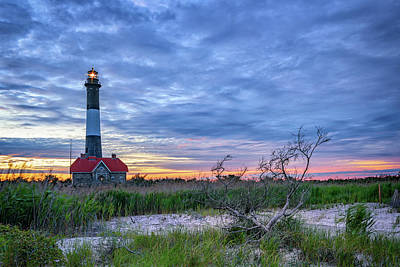 The Lighthouse At Dusk Poster by Rick Berk