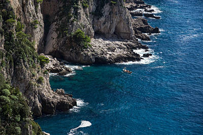 The Little Boat And The Cliff - Azure Waters Magic Of Capri Poster by Georgia Mizuleva