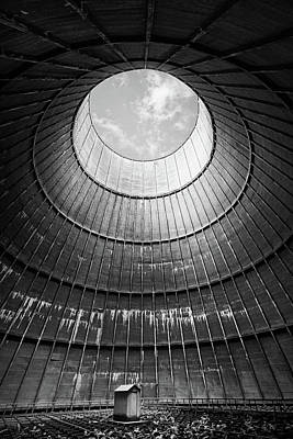 Poster featuring the photograph the little house inside the cooling tower BW by Dirk Ercken