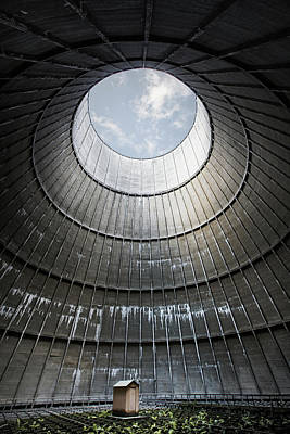 Poster featuring the photograph The Little House Inside The Cooling Tower by Dirk Ercken