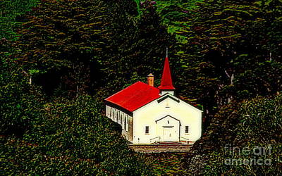 Red Steeple Red Roof White Church Near Sausalito California Poster by Michael Hoard
