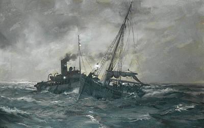The Liverpool Tug Calgarth Poster by Montague Dawson