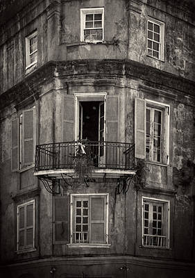 The Lone Balcony Of New Orleans In Black And White Poster