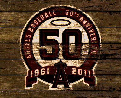 The Los Angeles Angels Of Anaheim 50 Years Of Angels Baseball 2a Poster by Brian Reaves