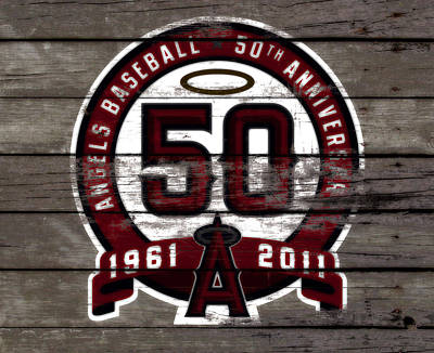 The Los Angeles Angels Of Anaheim 50 Years Of Angels Baseball Poster by Brian Reaves