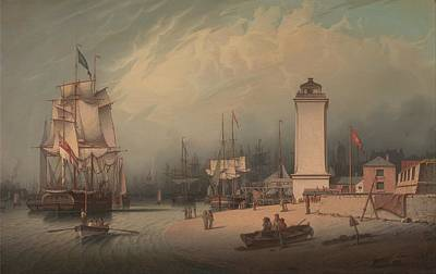 The Low Lighthouse, North Shields By Robert Salmon, 1828. Poster