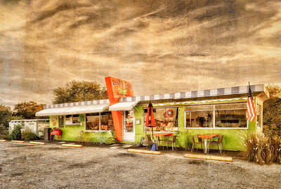 The Lucky Dog Diner At Sunset - 3 Poster by Frank J Benz