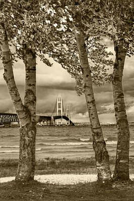 The Mackinaw Bridge In Sepia Poster