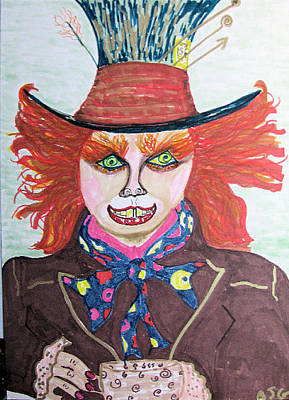 Poster featuring the drawing The Mad Hatter by Barbara Giordano