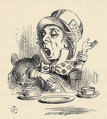 The Mad Hatter Reciting His Nonsense Poster by Vintage Design Pics
