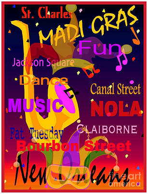 The Madi Gras Poster by Gayle Price Thomas
